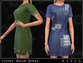 Sims 4 — pipco - clover denim dress. by Pipco — a cozy patched denim dress.
