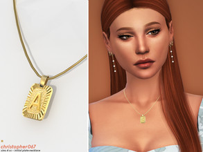 Sims 4 — Initial Plate Necklace / Christopher067 by christopher0672 — This is a vintage style letter plate necklace