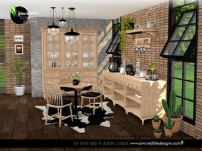 Sims 4 — Country Coffee Dining Area by SIMcredible! — The second part of our Country Coffee set is the dining area, a