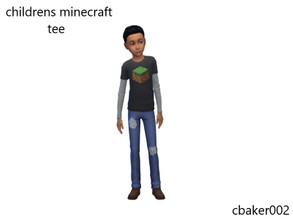Sims 4 — Child Minecraft Tee by cbaker002 — BASE GAME COMPATABLE A simple Minecraft block tee for your young boys or