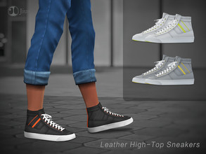 Sims 4 — Jius-Male Leather High-Top Sneakers 01 by Jius — -Male Leather High-Top Sneakers -3 colors -Athletic/Cold