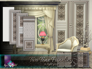 Sims 4 — Two Tone Paneling in light gray by Emerald —  These classic and modern decorative paneling will create