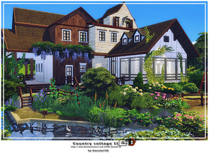 Sims 4 — Country cottage II by Danuta720 — A farm with a fish pond. includes: - kitchen - dining room - 3 bathrooms (one