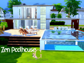 Sims 4 — Zen poolhouse by GenkaiHaretsu — Hi! I present to you today small house for one or two ims with one bedroom and