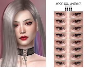 Sims 4 — LMCS Kpop Idol Liner N7 by Lisaminicatsims — -New Mesh -HQ Compatible -8 Swatches -All Skin