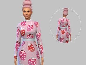 Sims 4 — Vintage Strawberry Dress - Base Game by TulipSniper — Vintage 70s vibe strawberry dress
