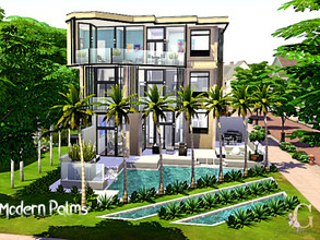 Sims 4 — Modern Palms by GenkaiHaretsu — Very modern house for big family!