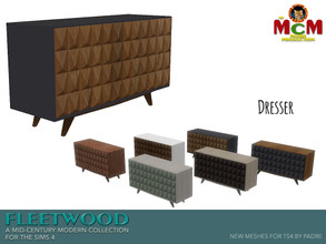Sims 4 — Fleetwood Dresser by Padre — A dresser from the mid-century era, and with its diamond design front face, it