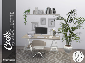 Sims 4 — Cecile Office Set by Syboubou — This natural, bright a cute office will allow your Sim to play, work, draw or