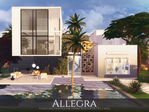 Sims 4 — Allegra by Rirann — Allegra is a contemporary house for a middle sim family. Fully furnished and decorated.