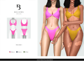 Sims 3 — Knot Front Plunge Bikini by Bill_Sims — YA/AF Swimwear Available for Maternity Recolorable - 1 Channel 2
