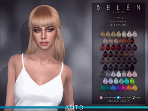 Sims 4 — Anto - Belen (Hairstyle) by Anto — Long hair tied at the back