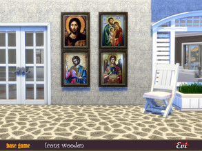 Sims 4 — Icons Wooden by evi — Traditional icons that you can find in small Greek Aegean churces