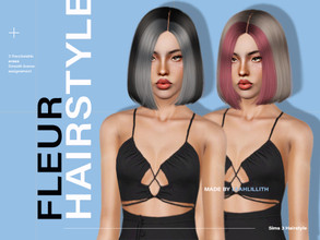 Sims 3 — LeahLillith Fleur Hairstyle by Leah_Lillith — Fleur Hairstyle All LODs Smooth bones Custom CAS thumbnail