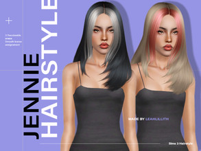 Sims 3 — LeahLillith Jennie Hairstyle by Leah_Lillith — Jennie Hairstyle All LODs Smooth bones Custom CAS thumbnail