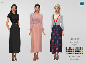 Sims 4 — Holly Skirt High by Elfdor — - 40 swatches - teen to elder - everyday, formal, party - base game compatible -
