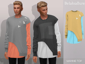 Sims 4 — Belaloallure_Mannie top by belal19972 — Asymmetrical cropped jersey with simple shirt underneath for your sims