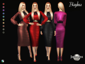 Sims 4 — Biaylma dress by jomsims — Biaylma dress Biaylma dress Sims 4 for her in 10 shades skirt with buttons blouse