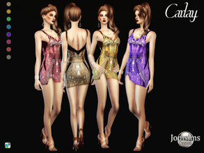 Sims 4 — Carlay dress by jomsims — Carlay dress Carlay dress Sims 4 for her in 8 shades short split dress with straps.