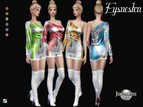 Sims 4 — Eysnesten dress by jomsims — Eysnesten dress Eysnesten dress Sims 4 for her in 6 shades. short dress 1 sleeve.