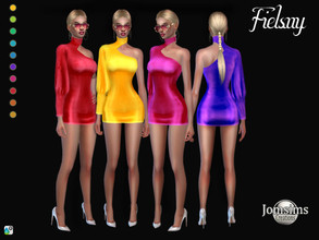 Sims 4 — Fielsny dress by jomsims — Fielsny dress Fielsny dress Sims 4 for her in 10 shades. short dress 1 sleeve, with