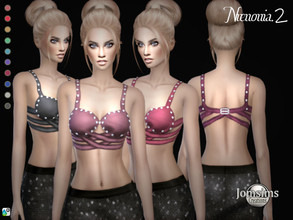 Sims 4 — Nrenonia top2 by jomsims — Nrenonia top2 Nrenonia top2 Sims 4 for her in 10 shades. tank top bra with bands with