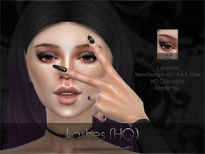 Sims 4 — Lashes (HQ) by Caroll912 — - A black pair of eyelashes. - 3 swatches total - bottom lashes, top lashes and a set