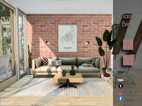 Sims 4 — Classic Brick 2 by Caroll912 — A 2-recolour classic, lightly textured, warm-toned brick wall texture. Suitable