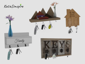 Sims 4 — Key Holder set by Katiesimspire — Customise your own key holder with different keys: car keys, old key, keys