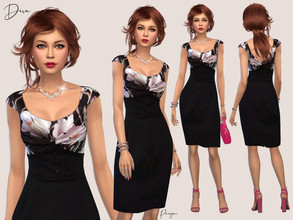 Sims 4 — Diva by Paogae — Elegant dress, one color, black high-waisted skirt with buttons on the front, draped floral