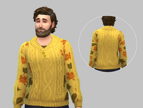 Sims 4 — Leaf Sweater - BASE GAME by TulipSniper — Ready for fall Male sweater with leaves