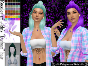 Sims 4 — Recolor Ade's Durham hair by PinkyCustomWorld — - Recolor in 48 different colors - Custom Thumbnail - Female