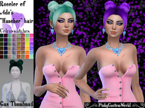 Sims 4 — Recolor Ade's Hancher hair by PinkyCustomWorld — -Recolor in 48 different colors - Custom Thumbnail - Female