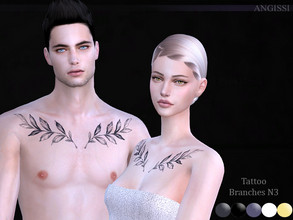 Sims 4 — Tattoo-Branches N3 by ANGISSI — *For all questions go here-----angissi.tumblr.com *5 colors *Category-breast