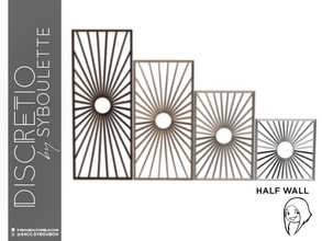 Sims 4 — Discretio Sun Divider Room (half walf) by Syboubou — This a divider room with simple lines and a sun pattern in
