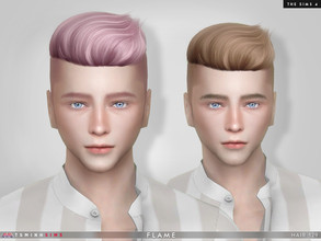 Sims 4 — Flame ( Hair 129 ) by TsminhSims — New meshes - 20 colors - HQ texture - Custom shadow map, normal map - All