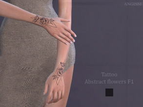 Sims 4 — Tattoo-Abstract flowers F1 by ANGISSI — *For all questions go here-----angissi.tumblr.com *3 options (black)