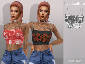 Sims 4 — Belaloallure_Myah top by belal19972 — Simple crop top with chain straps and optional fishnets