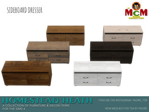 Sims 4 — Homestead Heath Sideboard Dresser by Padre — Homestead Heath... This set is a departure from my norm. A warm and