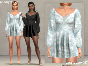 Sims 4 — Midnight Sky Dress / Christopher067 by christopher0672 — This is a short dress with puffy sleeves and an off the