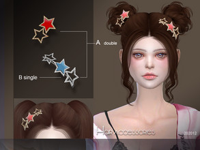 Sims 4 — S-Club LL ts4 Hair Accessories 202012 by S-Club — The stars Accessories hope you like, thank you. Classified in