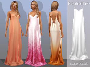 Sims 4 — Belaloallure_Ilona dress by belal19972 — Simple long silk dress for relaxed summer look .