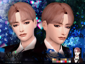 Sims 4 — Simjo_S1_Casablanca by KIMSimjo — * New Hair Mesh(Alpha) * 18 Swatches(EA Colors Tag) * All LODs * Male T-E *