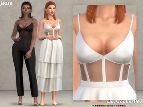 Sims 4 — Jesse Top / Christopher067 by christopher0672 — This is a super cute bustier with sheer panels and straps. This