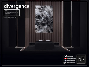 Sims 4 — Divergence Bedroom - Networksims by networksims — A 13-piece dark modern bedroom set. Includes: - A modern bed
