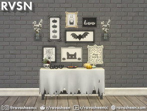 Sims 4 — Fab-boo-lous Halloween Wall Art by RAVASHEEN — Add scary-chic festive flair to your house with these