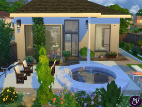 Sims 4 — Comfortable House (No CC) by linavees — Comfortable one-storey house with a large yard and a swimming pool. The