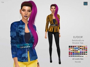 Sims 4 — Belaloallure Brooke Top RC by Elfdor — Its a standalone recolor of Belaloallure top and you will need the