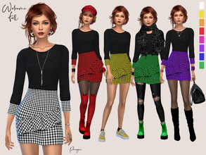 Sims 4 — Welcome Fall by Paogae — Black sweater and plaid skirt, in eight warm colors perfect for autumn, but also for