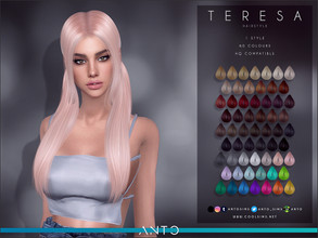 Sims 4 — Anto - Teresa (Hairstyle) by Anto — Long tails with bangs